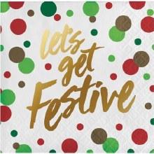 Lets Get Festive Foil Beverage Napkins ~ 16 Pack