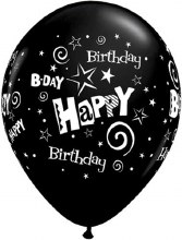"11"" Matte Black Happy Birthday Stars & Swirls"