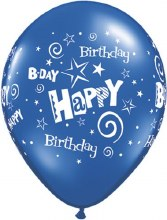 "11"" Matte Dark Blue Happy Birthday Stars & Swirls"