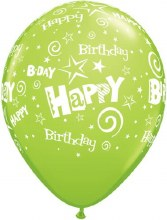 "11"" Matte Lime Green Happy Birthday Stars & Swirls"