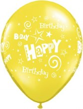 "11"" Matte Yellow Happy Birthday Stars & Swirls"
