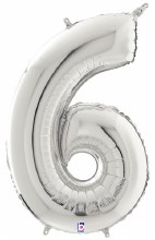"""40"""" Megaloon Silver Number 6"""
