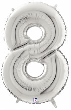 """40"""" Megaloon Silver Number 8"""