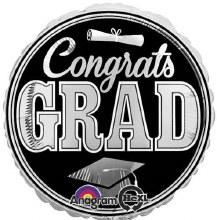 "Mylr 32"" Congrats Grad Slv/Blk"