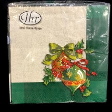 Ornaments on Green Lunch Napkins ~ 20 Pack