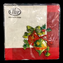 Ornaments on Red Lunch Napkins ~ 20 Pack