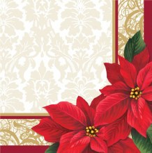 Poinsetta Lace Lunch Napkins ~ 50 Pack