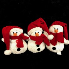 Singing Sparkle Snowman Plush ~ RED