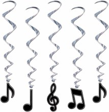 Whirls Music Notes Blk/Silver