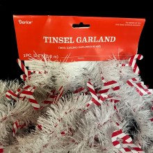 12' White Candy Cane Tinsel Garland