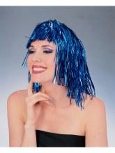 Wig Tinsel Long Blue