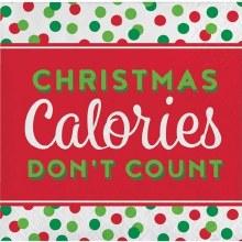 Christmas Calories Beverage Napkins ~ 16 Pack