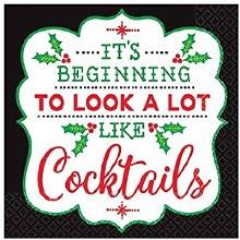 Christmas Cocktails Beverage Napkins ~ 16 Pack