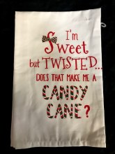 Funny Christmas Towel ~ Twisted Sweet Candy Cane