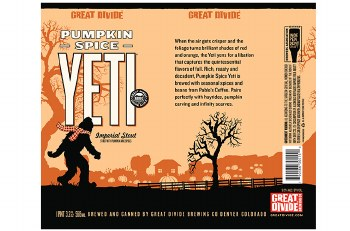 Great Divide Pumpkin Spice Yeti Imperial Stout Pint Can