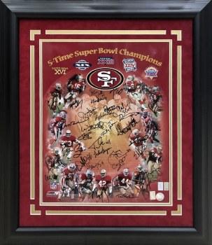 SAN FRANCISCO 49ERS MULTI-SIGNED AUTOGRAPHED CUSTOM FRAMED 5X SB CHAMPIONS 16X20