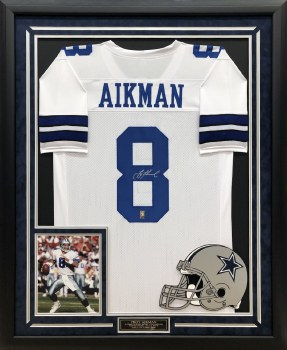 TROY AIKMAN AUTOGRAPHED HAND SIGNED CUSTOM FRAMED DALLAS COWBOYS JERSEY