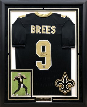 DREW BREES AUTOGRAPHED HAND SIGNED CUSTOM FRAMED SAINTS JERSEY