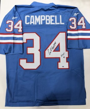 EARL CAMPBELL - OILERS UNFRAMED SIGNED JERSEY