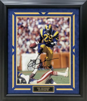 ERIC DICKERSON AUTOGRAPHED HAND SIGNED CUSTOM FRAMED LA RAMS METALLIC 16X20 PHOTO