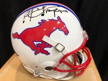ERIC DICKERSON AUTOGRAPHED HAND SIGNED SMU FULL SIZE REPLICA HELMET