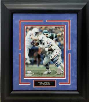 EARL CAMPBELL AUTOGRAPHED HAND SIGNED CUSTOM FRAMED HOUSTON OILERS 8X10 PHOTO