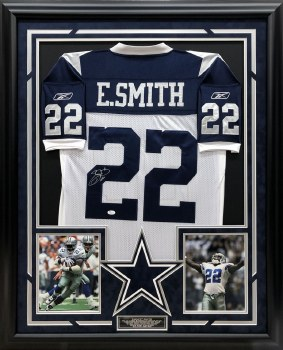 EMMITT SMITH AUTOGRAPHED HAND SIGNED CUSTOM FRAMED DALLS COWBOYS JERSEY