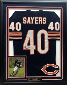GALE SAYERS SIGNED & CUSTOM FRAMED JERSEY