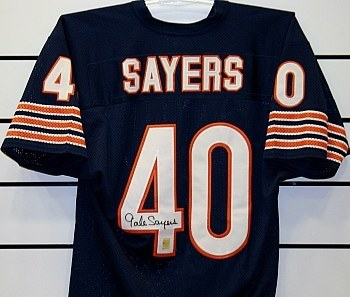 GALE SAYERS - BEARS UNFRAMED SIGNED JERSEY