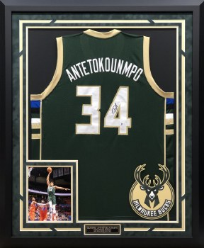 GIANNIS ANTETOKOUNMPO MILWAUKEE BUCKS AUTOGRAPHED HAND SIGNED CUSTOM FRAMED JERSEY