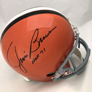 JIM BROWN AUTOGRAPHED HAND SIGNED CLEVELAND BROWNS REPLICA HELMET