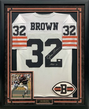 JIM BROWN AUTOGRAPHED HAND SIGNED AND CUSTOM FRAMED CLEVELAND BROWNS JERSEY