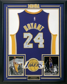 KOBE BRYANT AUTOGRAPHED HAND SIGNED CUSTOM FRAMED LAKERS PURPLE #24 JERSEY