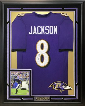 LAMAR JACKSON AUTOGRAPHED HAND SIGNED AND CUSTOM FRAMED RAVENS JERSEY
