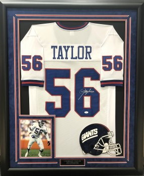 LAWRENCE TAYLOR AUTOGRAPHED HAND SIGNED & CUSTOM FRAMED NEW YORK GIANTS JERSEY