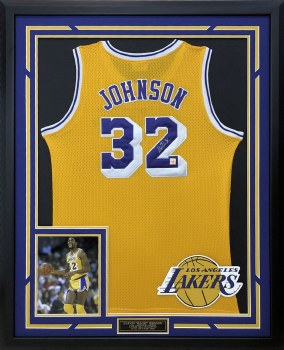 MAGIC JOHNSON AUTOGRAPHED HAND SIGNED CUSTOM FRAMED LA LAKERS JERSEY