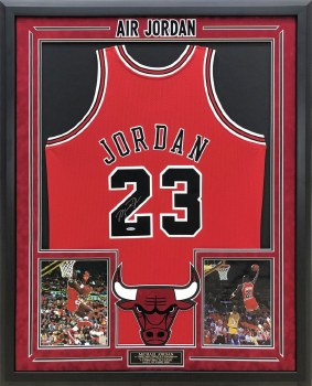 MICHAEL JORDAN AUTOGRAPHED HAND SIGNED AND CUSTOM FRAMED RED CHICAGO BULLS JERSEY