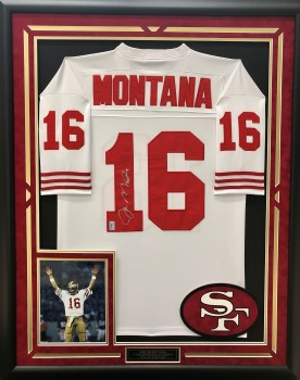 JOE MONTANA - 49ERS SIGNED & CUSTOM FRAMED JERSEY