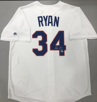 NOLAN RYAN AUTOGRAPHED HAND SIGNED RANGERS JERSEY