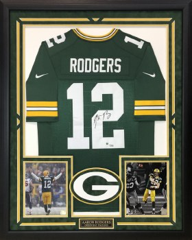 AARON RODGERS AUTOGRAPHED HAND SIGNED CUSTOM FRAMED GREEN BAY PACKERS JERSEY