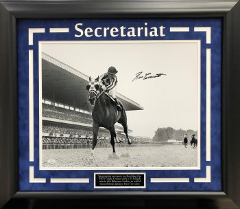 RON TURCOTTE SECRETARIAT AUTOGRAPHED HAND SIGNED AND CUSTOM FRAMED 16X20 PHOTO