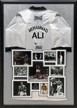 MUHAMMAD ALI AUTOGRAPHED HAND SIGNED AND CUSTOM FRAMED ROBE