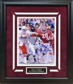 BILLY SIMS AUTOGRAPHED HAND SIGNED FRAMED OU 8X10 PHOTO