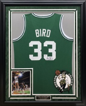 LARRY BIRD AUTOGRAPHED HAND SIGNED CUSTOM FRAMED BOSTON CELTICS JERSEY