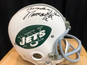 JOE NAMATH AUTOGRAPHED HAND SIGNED FULL SIZE NEW YORK JETS HELMET