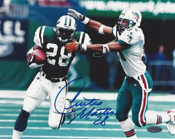 CURTIS MARTIN AUTOGRAPHED HAND SIGNED NEW YORK JETS 8X10 PHOTO