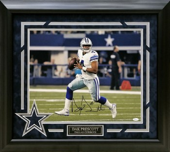 DAK PRESCOTT AUTOGRAPHED HAND SIGNED AND CUTOM FRAMED DALLAS COWBOYS 16X20 PHOTO