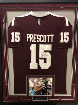 DAK PRESCOTT - MISSISSIPPI STATE SIGNED AND FRAMED JERSEY
