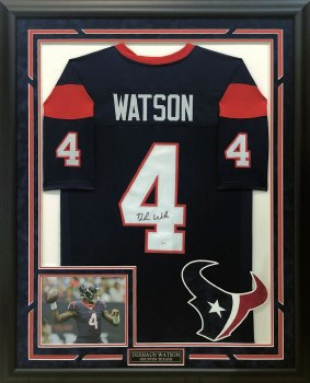 DESHAUN WATSON AUTOGRAPHED HAND SIGNED CUSTOM FRAMED HOUSTON TEXANS JERSEY