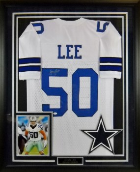 SEAN LEE AUTOGRAPHED HAND SIGNED DALLAS COWBOYS FRAMED JERSEY